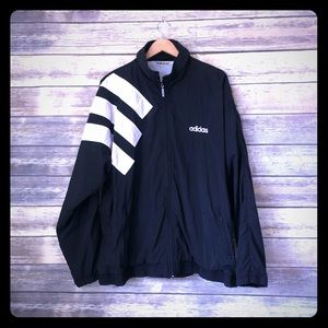 Vintage 80s adidas track suit top - black/white